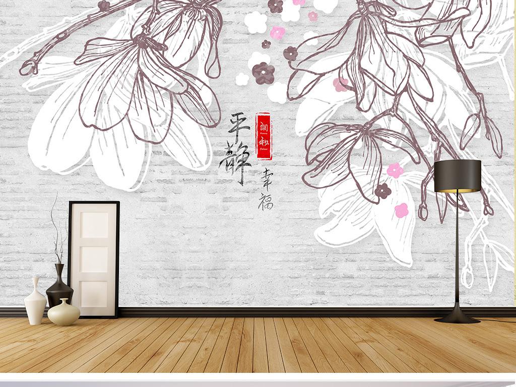 手绘白玉林花花朵简约抽象北欧白砖唯美女性女美女电视背景墙图片玻璃
