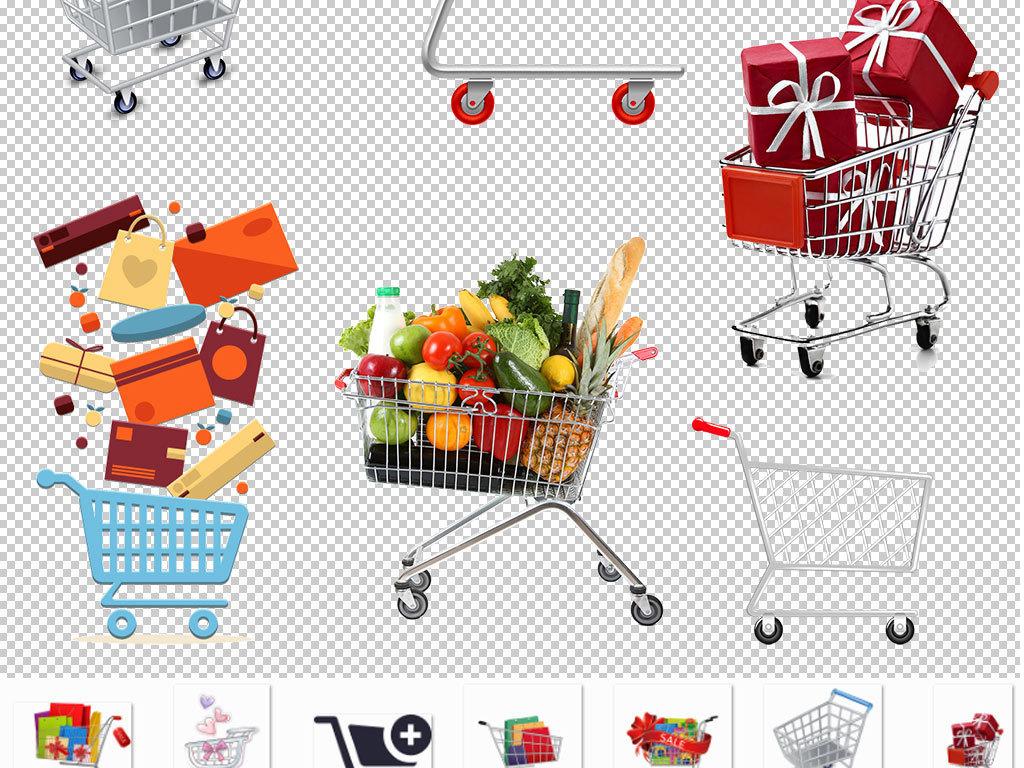 png)手绘卡通购物车超市购物车矢量图