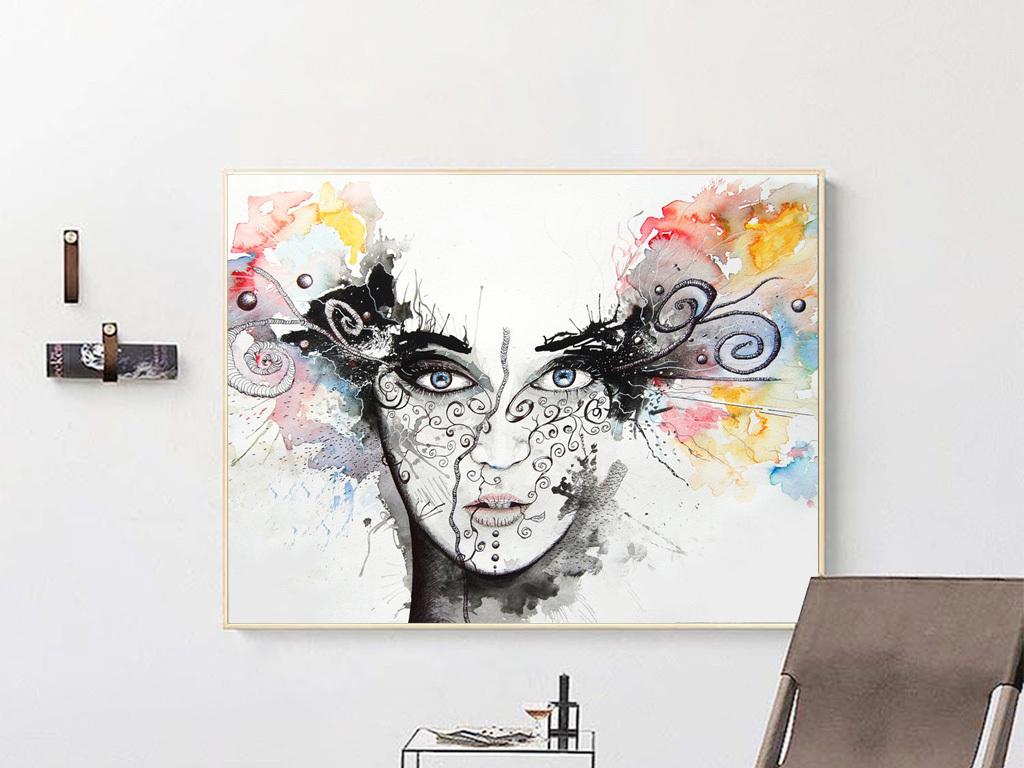 现代欧式抽象水彩黑白人物无框画