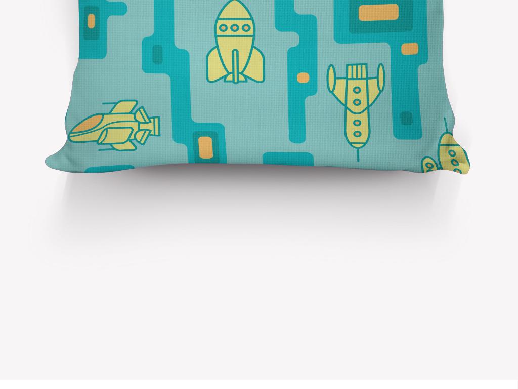 卡通搞怪飞机迷宫抱枕印花图案