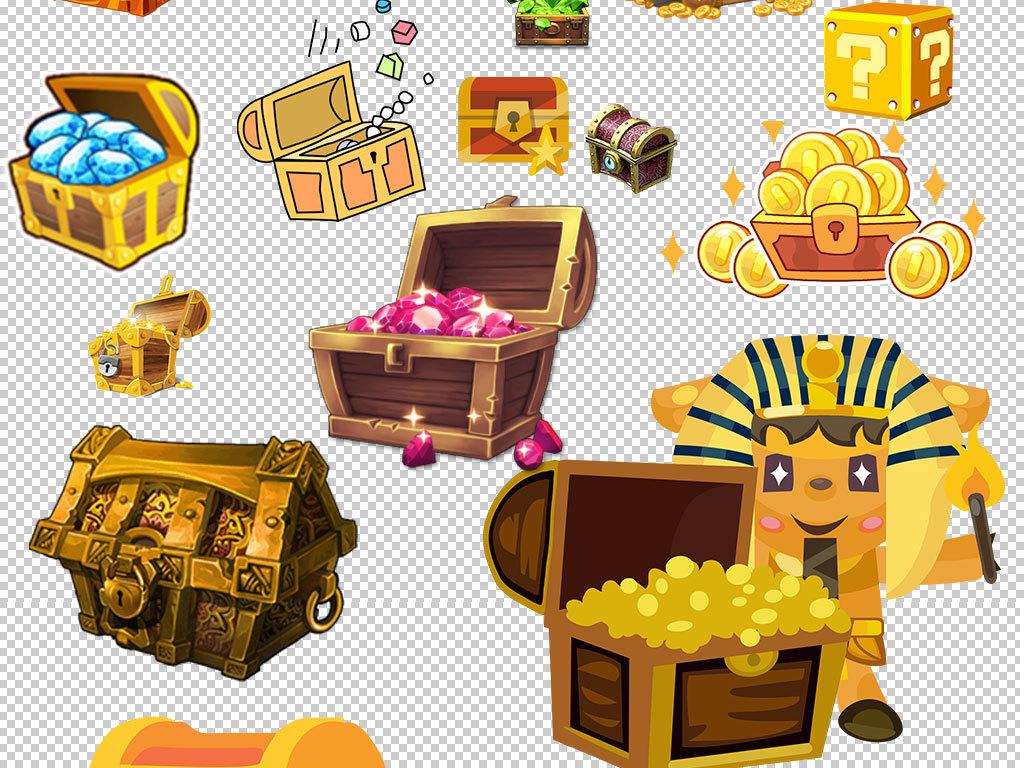 宝袋黄金木箱子宝盒素材藏宝箱素材游戏道具设计元素海报宝箱金币宝箱