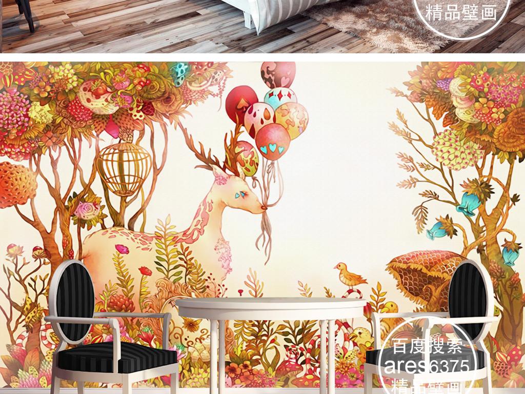 爱丽丝梦游仙境手绘梦幻童话鹿气球花丛壁画