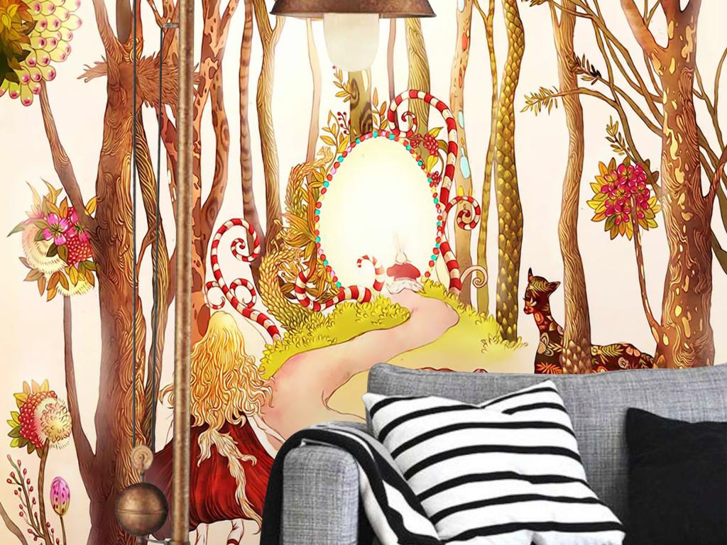 爱丽丝梦游仙境手绘梦幻童话鹿花丛树林壁画