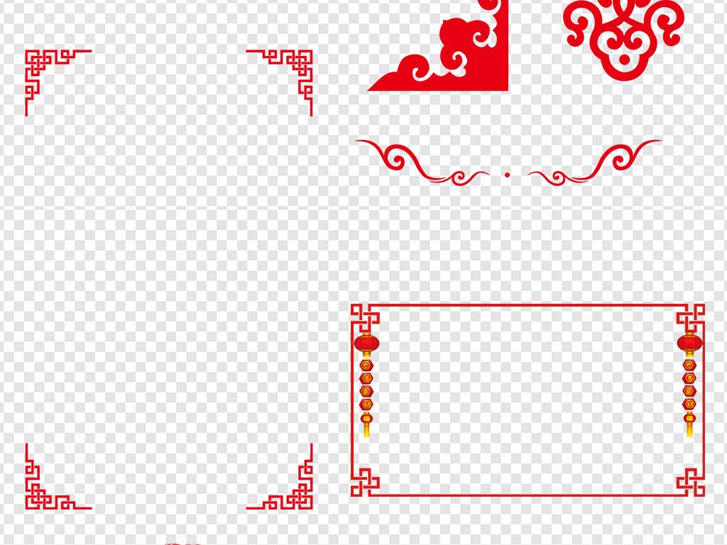 中国风红色边框素材