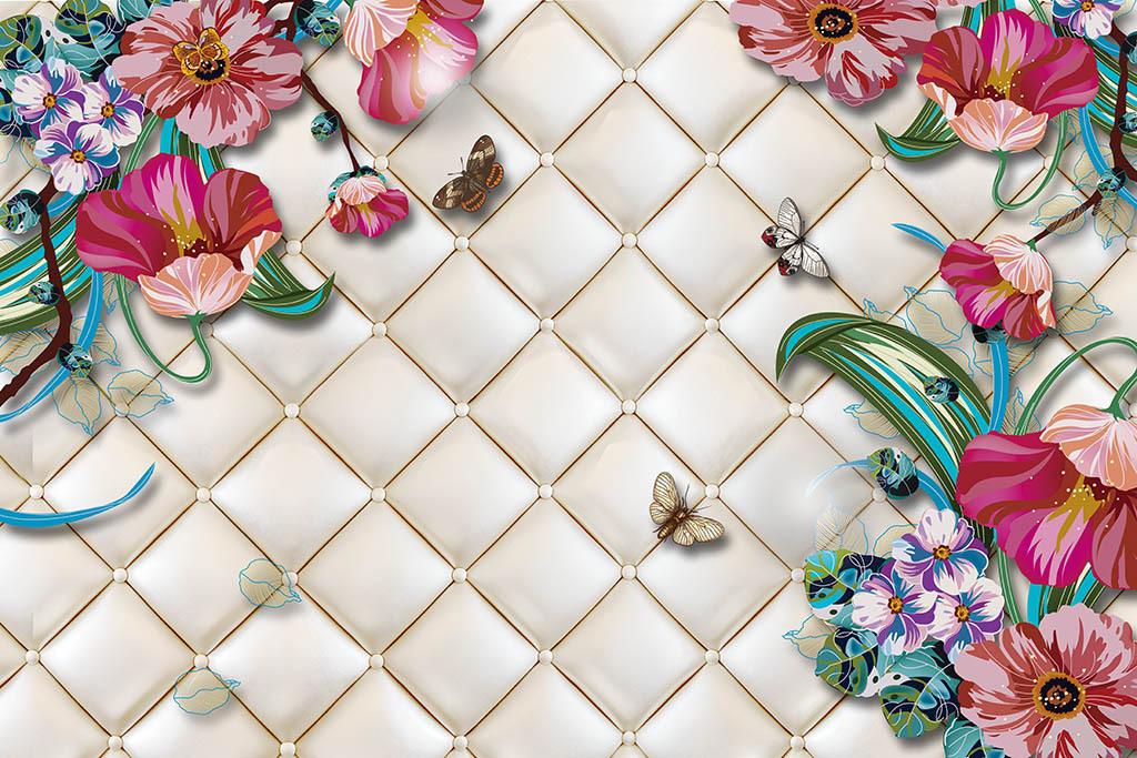 手绘花卉软包背景墙
