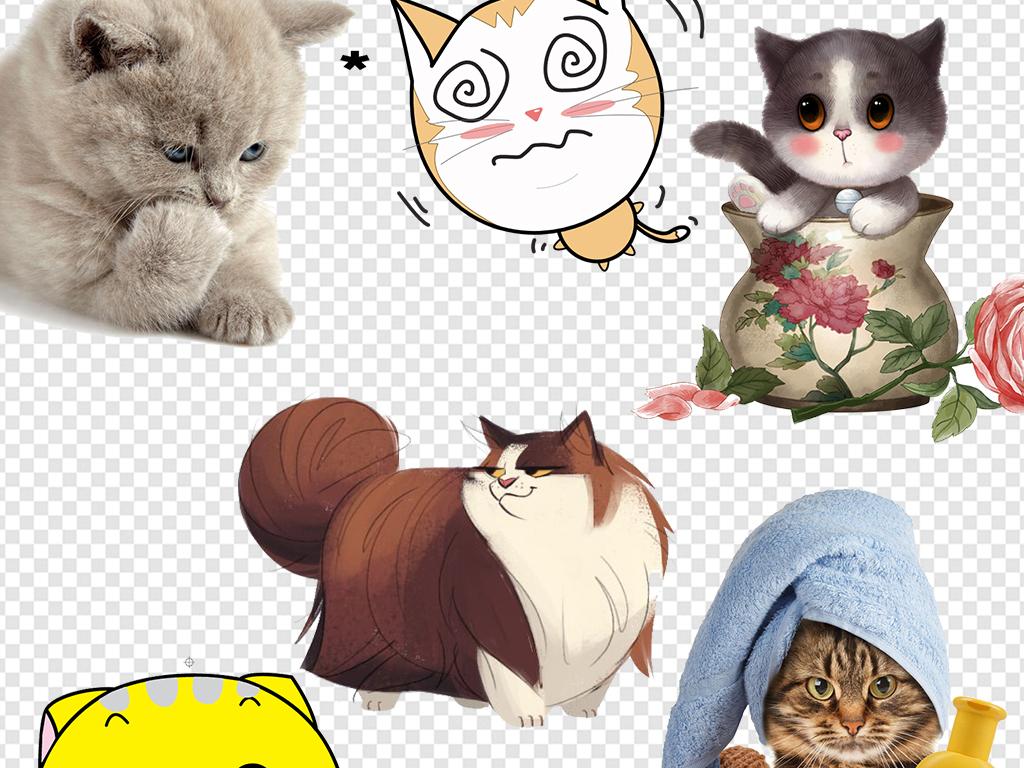 卡通小猫小狗小
