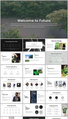 极简风格ppt_极简风格高雅黑商务通用PPT模板下载图片编
