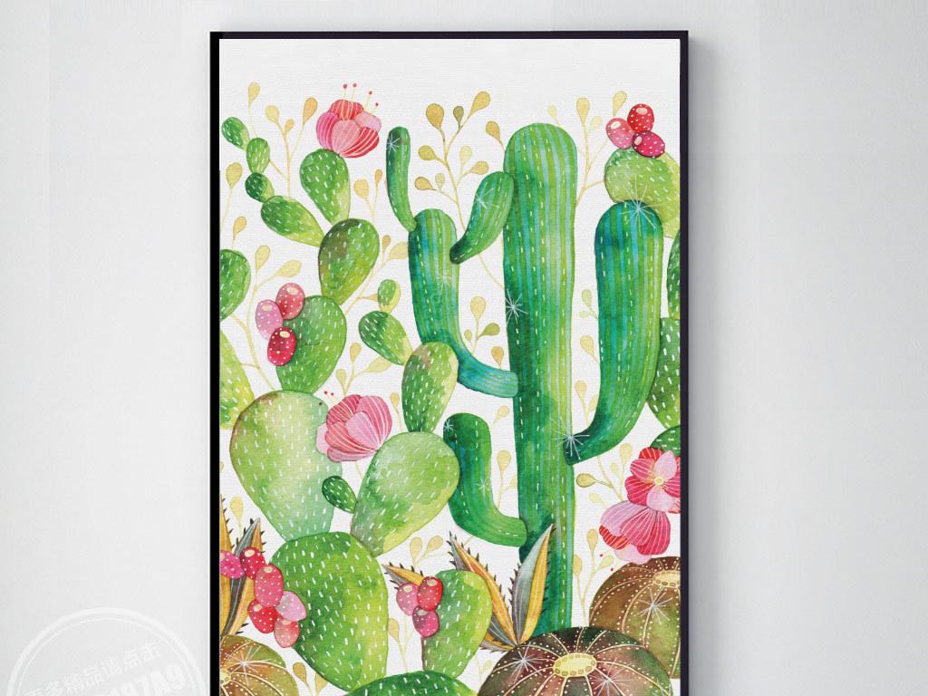 彩色手绘热带植物仙人掌无框装饰画