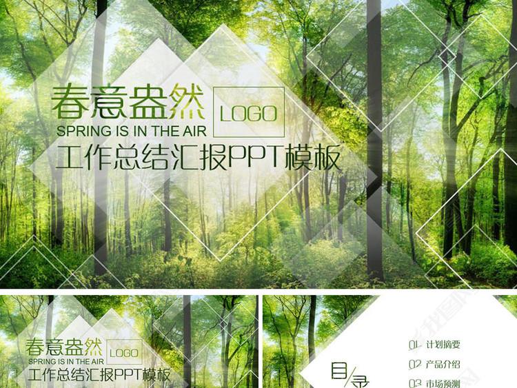 绿色商业计划书工作总结公司简介PPT模板