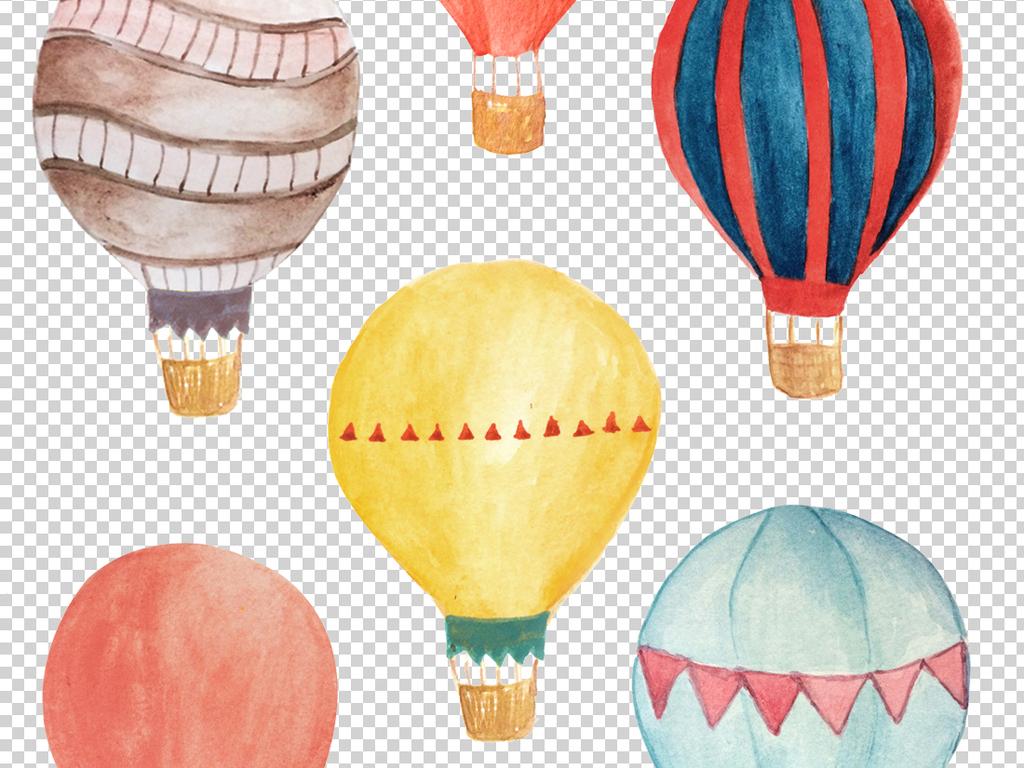 高清手绘水彩热气球插画免抠png素材
