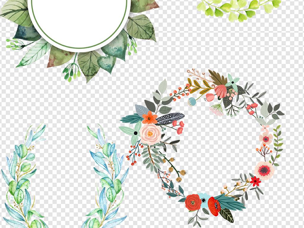 手绘树叶树叶边框素材