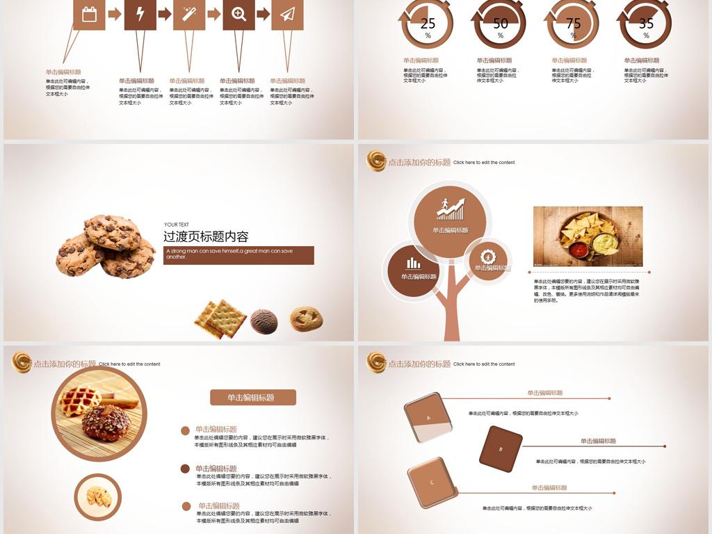 ppt模板 总结计划ppt模板 工作总结ppt > 创意巧克力饼干ppt动态模板