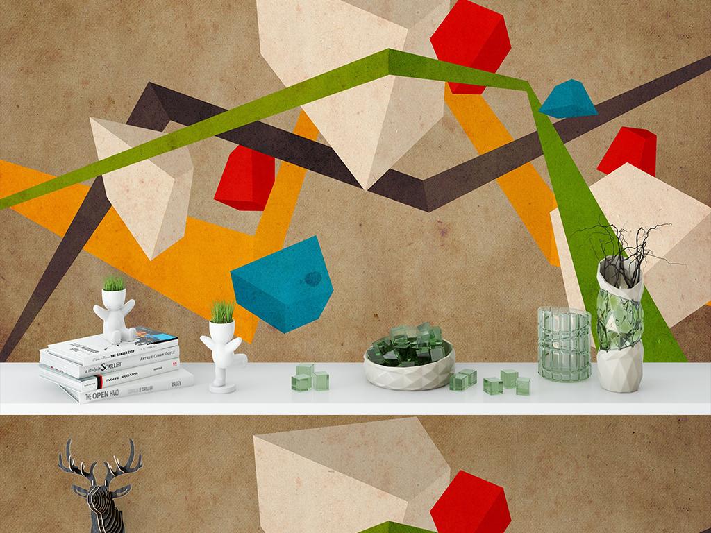 几何抽象3D卡通形状背景墙贴纸墙纸模板