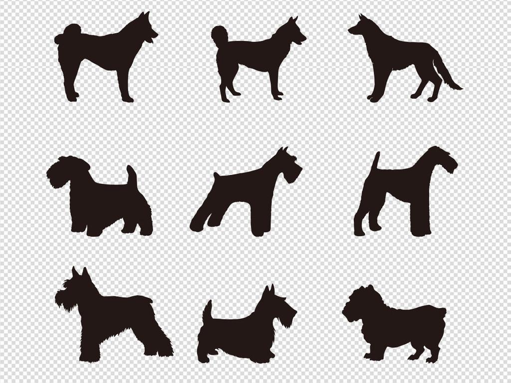儿童画手绘插画设计元素ps海报素材黑白素材素材剪影多款素材大全狗