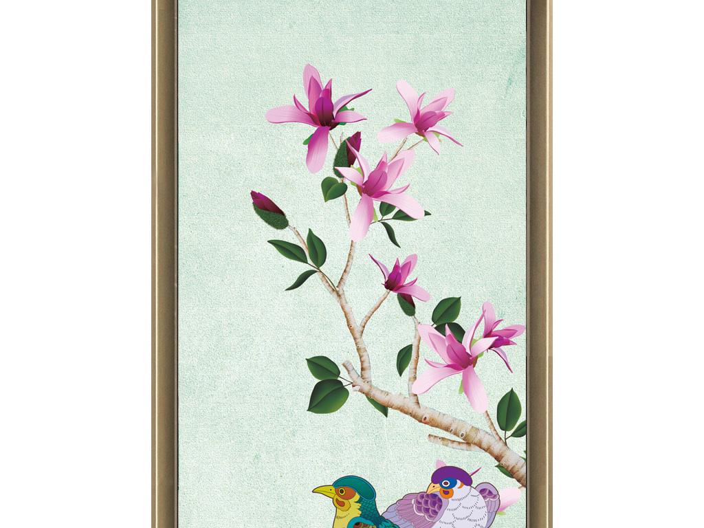 玉兰花鸟工笔装饰画