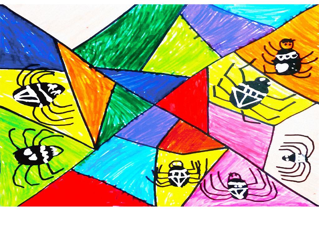 抽象七巧板蜘蛛手绘小学生