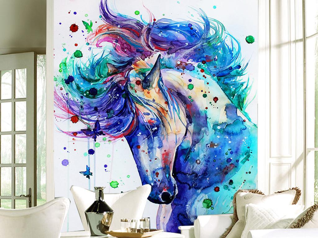 手绘水彩创意骏马客厅玄关装饰画背景墙