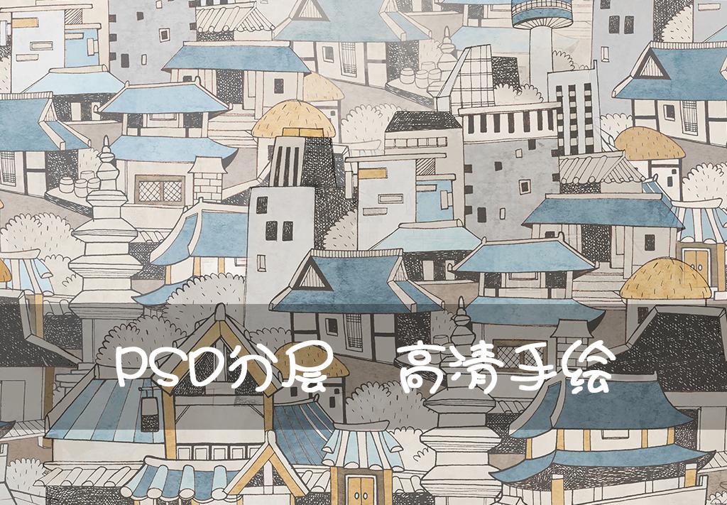 日式小城个性做旧手绘背景墙壁画装饰画