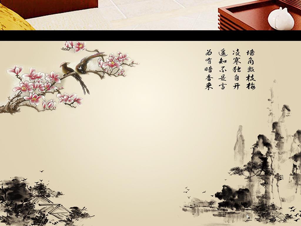 兰水墨彩雕国画山水画电视背景墙壁画