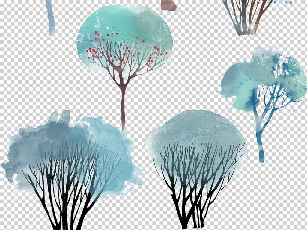 树叶 > 高清手绘水彩树木房屋景观插画png