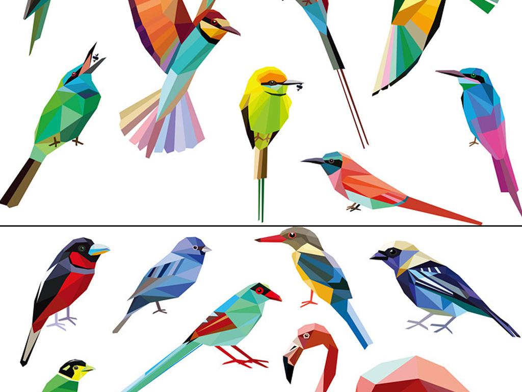 设计元素 自然素材 动物 > 矢量多边形几何马赛克风格鸟类插画图案