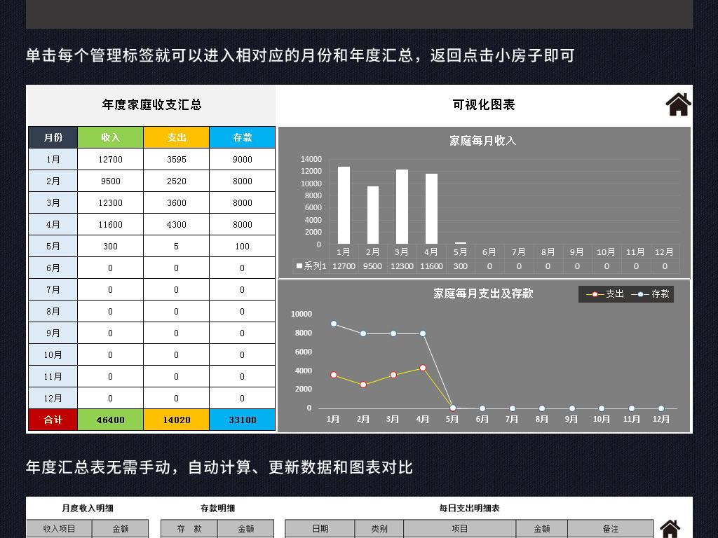 家庭收支明细记账本系统表格excel模板图片下载xlsx素材 其他报表