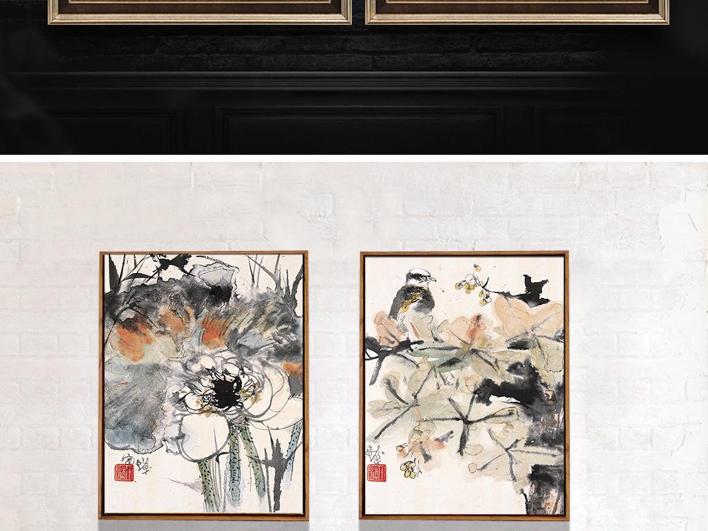 新中式水墨抽象荷花装饰画