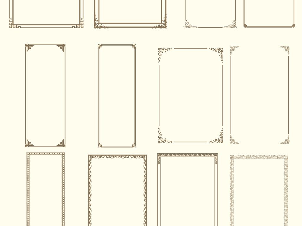欧式古典花纹边框雕刻装饰花框相框边角素材
