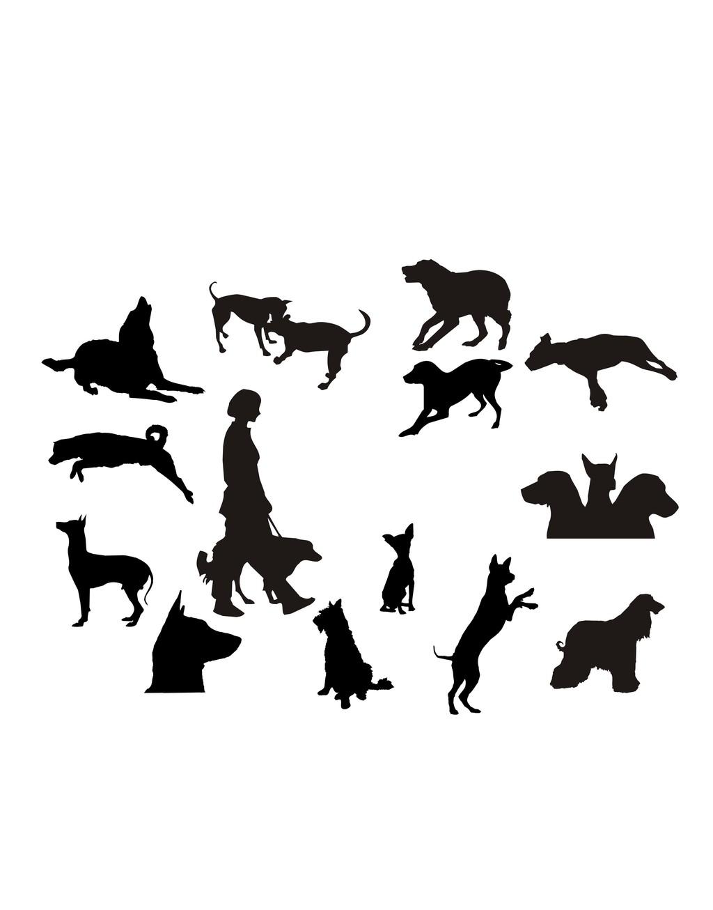 动物剪影人物剪影简笔插画狗图片设计素材_高清其他(0