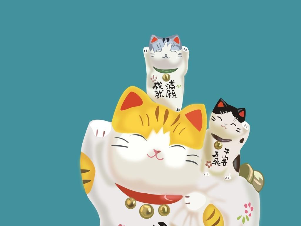 手机壳卡通图案招财猫