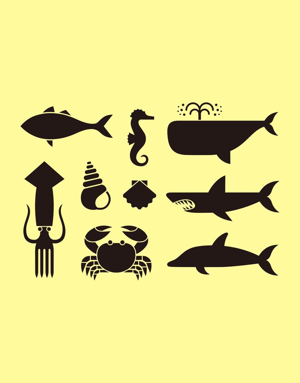 动物剪影插画海洋动物