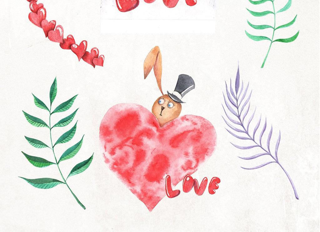 可爱手绘水彩兔子素材图片