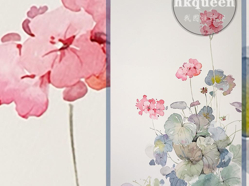 新中式手绘荷叶小碎花工笔绘画装饰画玄关