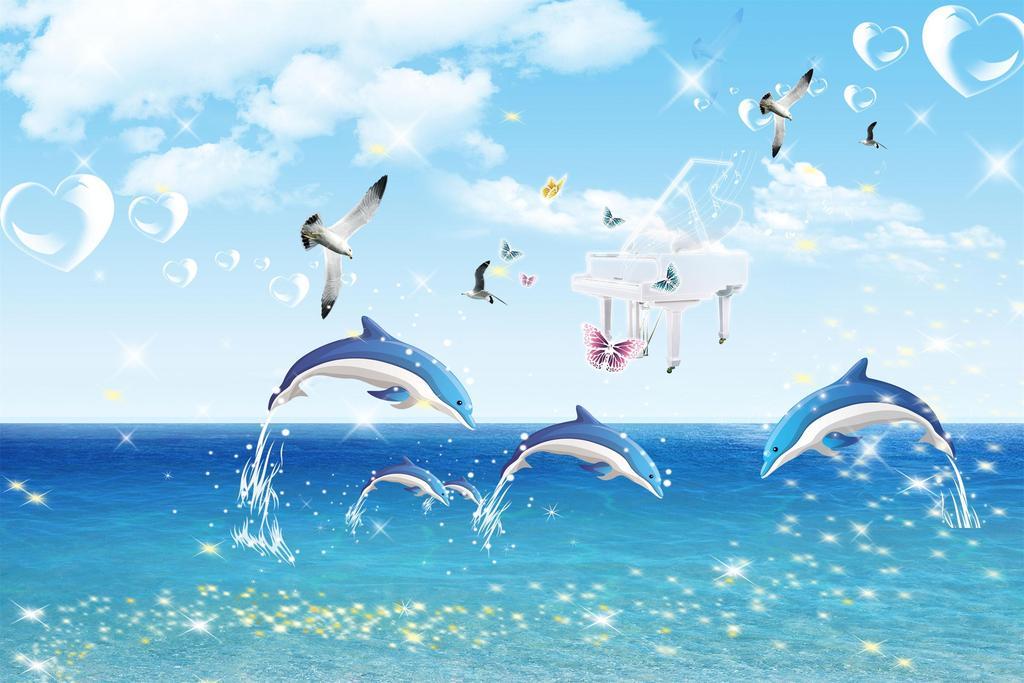 梦幻海洋海豚音乐卡通背景墙