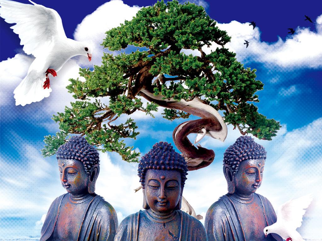 清新唯美苦海无边佛学冥想佛教文化宣传海报图片