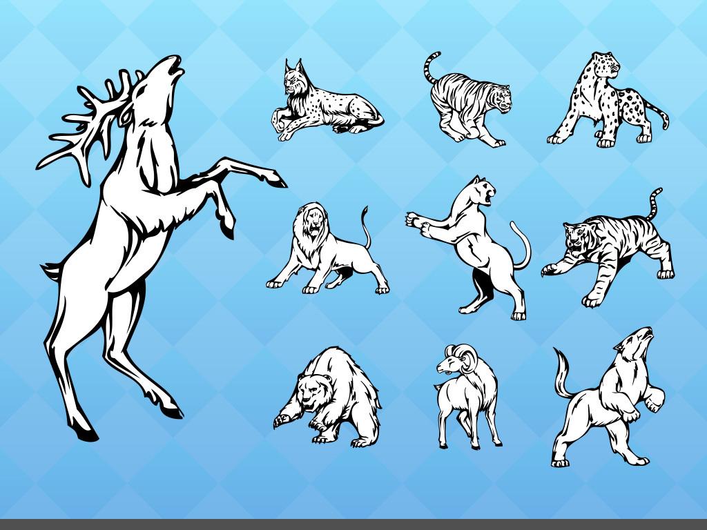 狗黑白线条手绘素材野生动物素材手绘东方设计元素