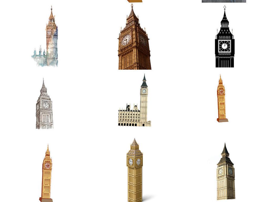 欧式大本钟海报设计素材免抠图