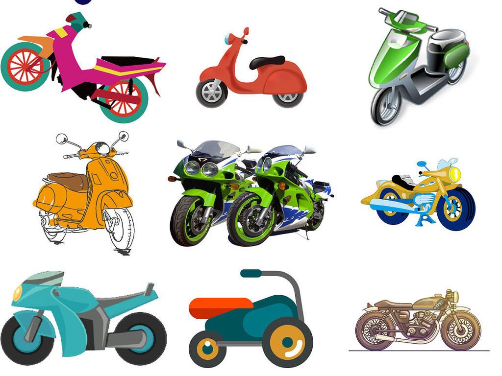 卡通摩托车png免抠透明素材
