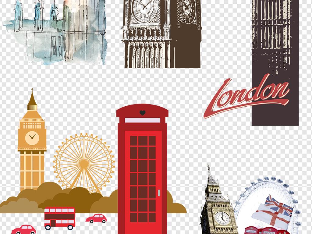 伦敦地标建筑大本钟卡通手绘大本钟剪影古老著名城市建筑伊丽莎白塔