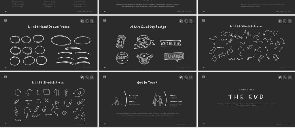 绘商务黑板背景简笔画商务PPT模版