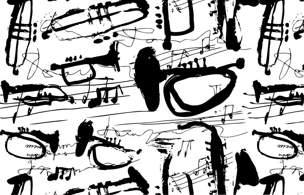 设计作品简介: 手绘黑白乐器印花手稿线稿