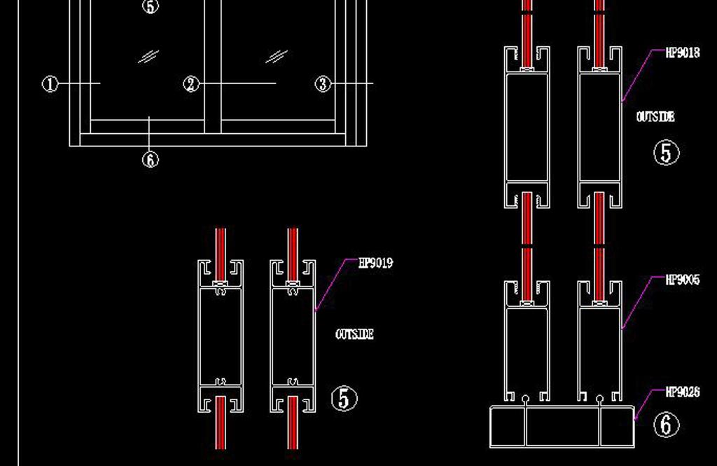 cad推拉门图纸剖面图建筑节点施工图图库