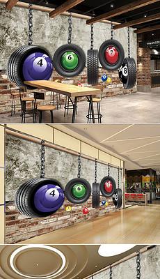 复古风格轮胎台球室工装背景墙