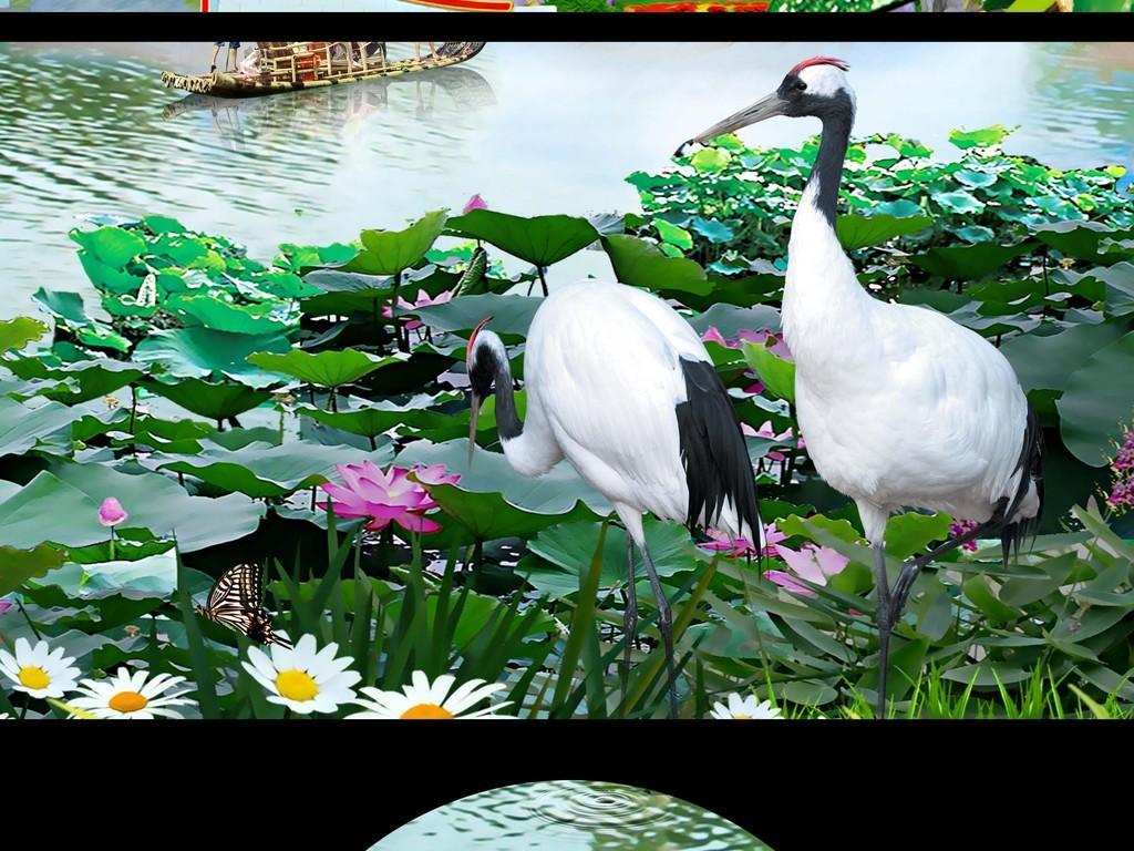 高清荷花仙鹤湖光风景山水画背景墙