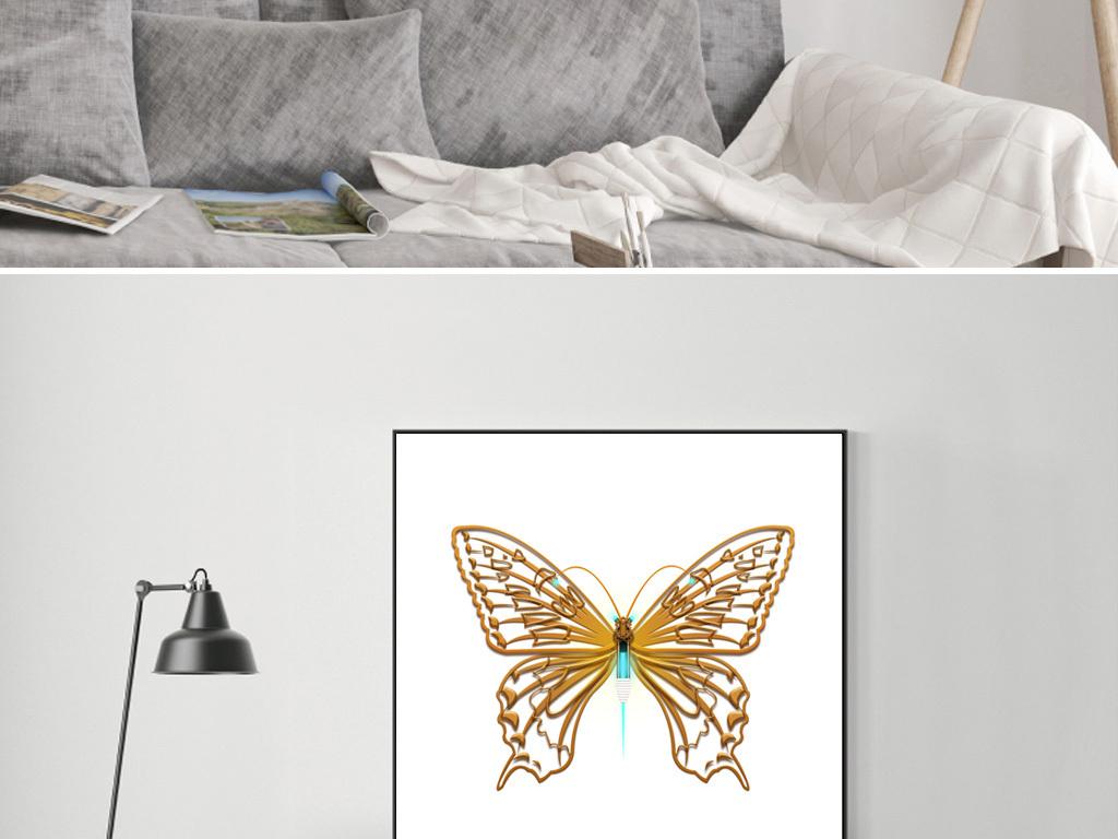 背景墙|装饰画 无框画 动物图案无框画 > 现代简约时尚立体蝴蝶装饰画