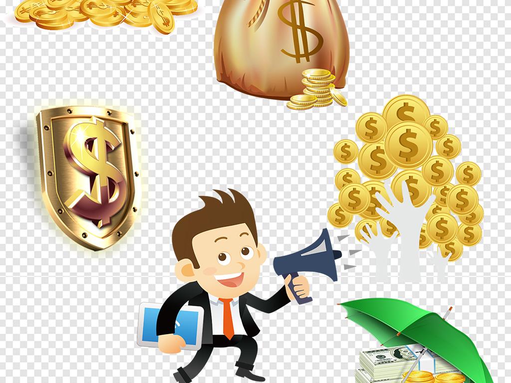 卡通钱袋金币金融理财促销海报素材