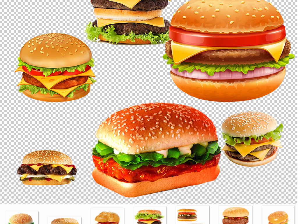 垃圾食品汉堡包设计海报素材