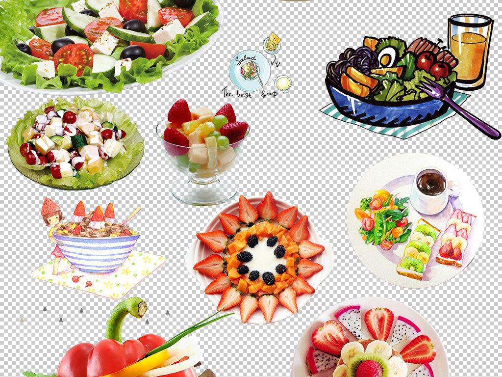手绘沙拉宣传单素材水果蔬菜蔬菜水果沙拉蔬菜沙拉