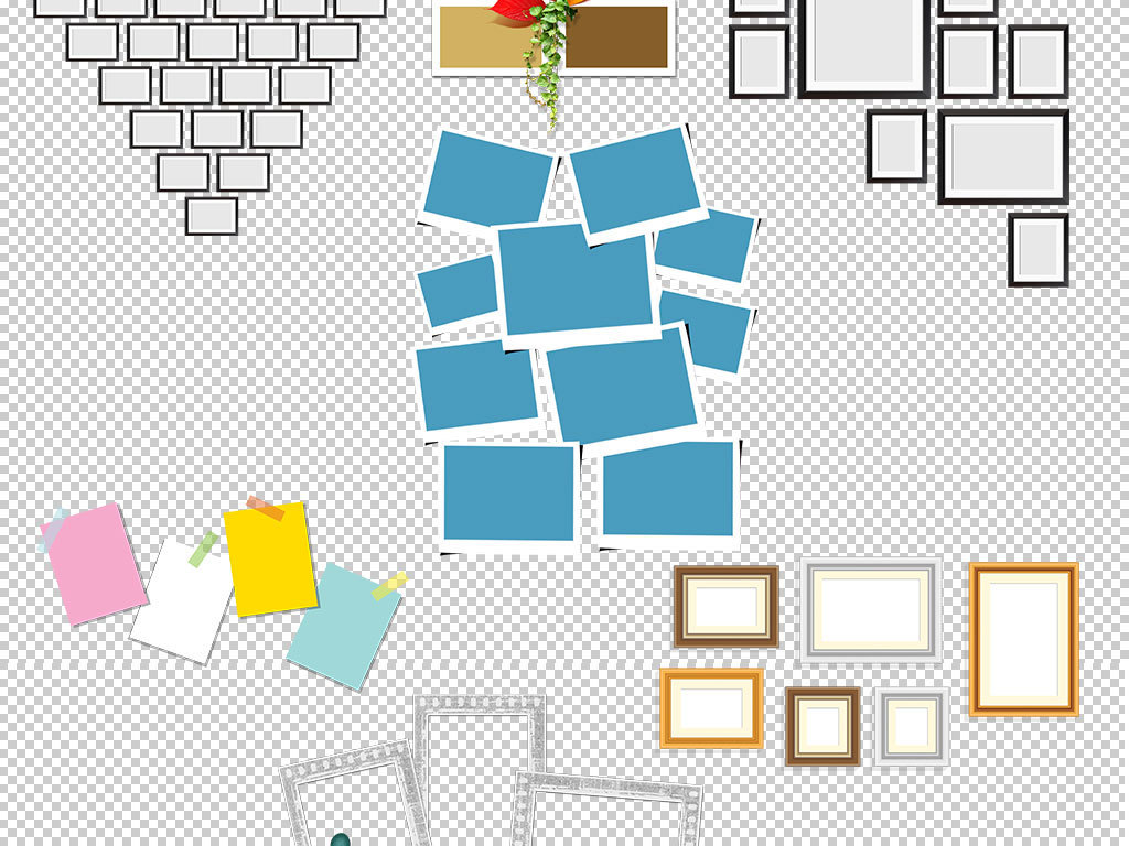 16 我图网提供精品流行心形照片墙拼图图案模版素材下载下载,作品模板图片