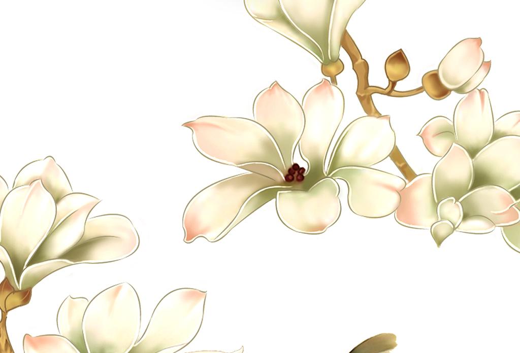 新中式手绘玉兰花鸟简约时尚装饰画无框画